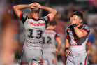 Nathaniel Roache and Simon Mannering of the Warriors. Photo / Getty Images