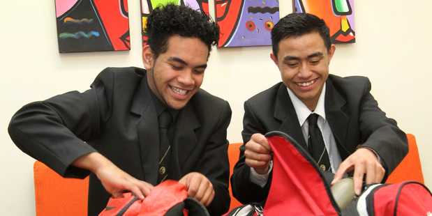 Austin Edmonds (left)  and Joel Faavae from Flaxmere College preparing for a new Outward Bound course designed for Hawke's Bay young leaders. Photo / Duncan Brown