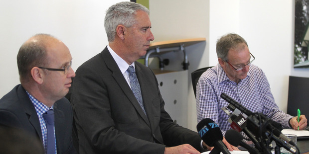 Hastings District Council chief executive Ross McLeod, mayor Lawrence Yule, and water services manager Brett Chapman at a press conference on the gastro outbreak yesterday. Photo / Duncan Brown