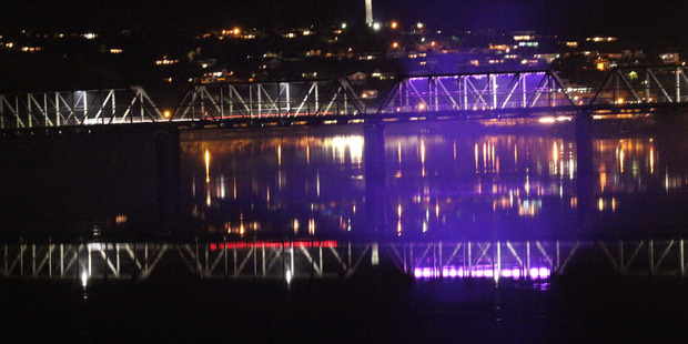 Trial lighting for Whanganui's Dublin St Bridge. PHOTO/ ALEX BAUMANIS