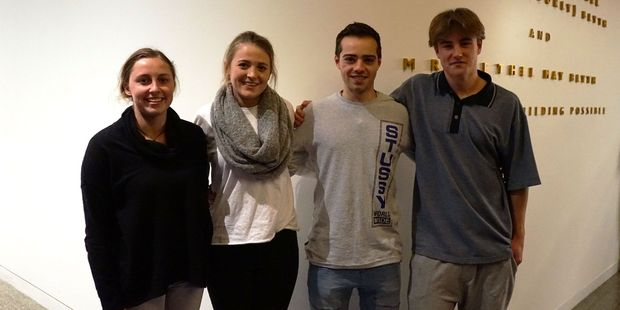 At Iona College (from left) are Georgia Mischefski-Gray (Woodford House), Kedra Macpherson (Iona College), Jake Bailey and Hamish Woods (Lindisfarne) .