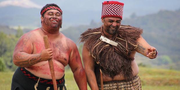 Warriors share a light-hearted moment at Ruapekapeka. Prize-winning photo by Peter de Graaf.