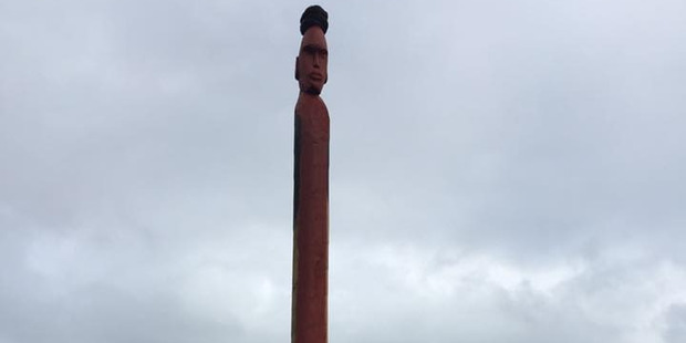 The pou at Mimiwhangata.