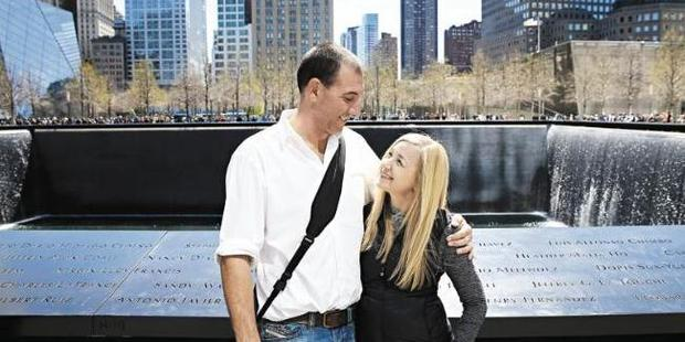Nathan and Jen when they visited Ground Zero together. It was Jen's first time she had been back there since 2001. Photo / News Corp Australia