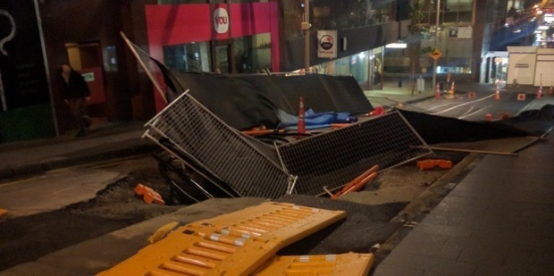 High winds collapsed roadworks off Albert St. Photo / Supplied