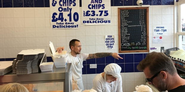 Tourists hit the fish joints in the British seaside resort town of Margate. Photo / William Booth