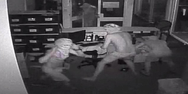 Northern Territory police have released CCTV footage of the male intruders. Photo / NT Police