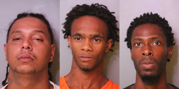 Andrew Warner, Gary Gray and Joshua Ellington have been charged in the death of Adam Hilarie. Photo / Auburndale Police Department.