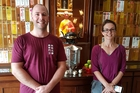 Whanganui's Matt Deihl and Annette Croot at Shuang Qing Zhu Lin Si Vihara temple Penang as part of a kung fu trip to Japan and Malaysia.
