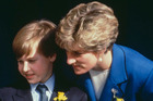 The Princess of Wales with her son Prince William at his first official engagement in Cardiff, 1991. Photo / Getty
