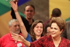 Brazil's suspended President Dilma Rousseff arrives at a rally in Brasilia, Brazil. Photo / AP