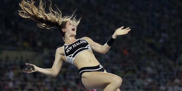 Eliza McCartney competes in the women's pole vault final. Photo / AP