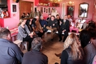 Hastings Mayor Lawrence Yule speaks with Havelock North business owners at Pipi Cafe after the campylobacter outbreak caused patronage to plummet. Photo / Paul Taylor