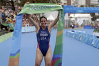 Gwen Jorgensen of the United States wins the women's triathlon competition of the 2016 Olympics in Rio de Janeiro. photo / AP