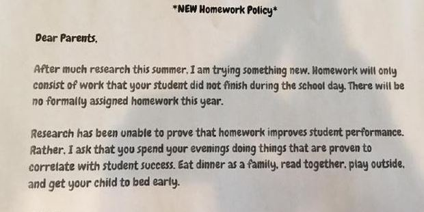 Mrs Brandy Young's classroom will be trying something new when it comes to homework. Photo / Facebook, Samantha Gallagher