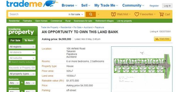 Land bank opportunity on Trade Me.