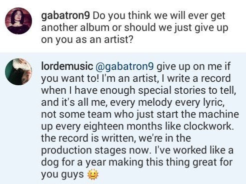 Lorde's now-deleted Instagram message to a fan.