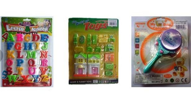 Three of the toys 123 Mart has been charged over. Photo / Commerce Commission