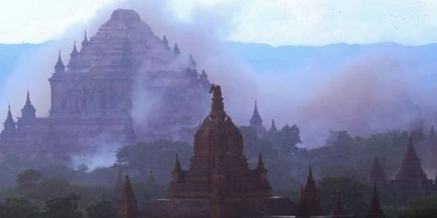 The ancient Sulamani temple is seen shrouded in dust as a 6.8 magnitude earthquake hit Bagan in Myanmar on August 24, 2016. Photo / AFP