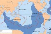 Earthquakes are common along the red lines that are the plate boundaries - fault lines. Photo / Geoscience Australia