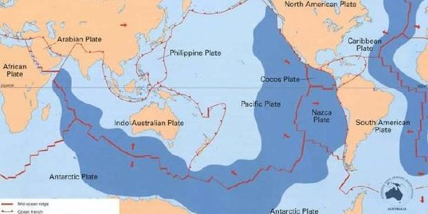 Loading Earthquakes are common along the red lines that are the plate boundaries - fault lines. Photo / Geoscience Australia