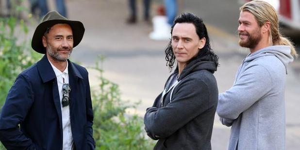 Director Taika Waititi and his leading men, Tom Hiddleston and Chris Hemsworth. Picture / News Corp Australia