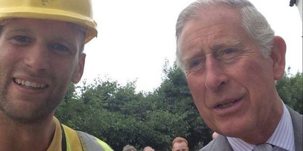 Builder Sam Wayne's selfie with The Prince of Wales in 2014. Photo / Facebook, Sam Wayne