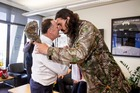 Prime Minister John Key and NBA star Steven Adams hongi. Photo / Facebook