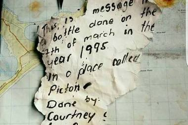 21 years later the message had fallen away in parts. Photo / Facebook / Molly Gomez
