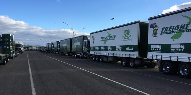 Trucking guard of honour for transport icon Jim Barker's funeral this afternoon. PHOTO/ALLISON HESS