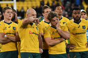 Dejected Australian players look on after their Bledisloe Cup defeat to New Zealand. Photo / Photosport