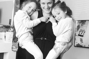 Angela Formosa with her twin girls Ruby and Rosie. Photo / Facebook