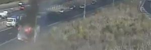 Truck blaze on Auckland motorway