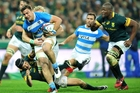 Facundo Isa has been busy as the Pumas kicked off the Rugby Championship with a narrow loss and win against the Boks. Photo / Photosport