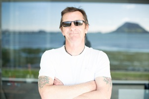 Phil Rudd on the deck at his Tauranga home. PHOTO/MICHELLE CUTELLI PHOTOGRAPHY