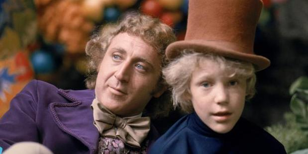 Gene Wilder as Willy Wonka and Peter Ostrum as Charlie Bucket in the film Willy Wonka and the Chocolate Factory.