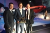 TOP PRIZE: Marc Fox (left) from Bayer, Cameron Price from Villa Maria and Scott Hanson from Bayer with the Hawke's Bay viticulturist's prestigious award. PHOTO/SUPPLIED