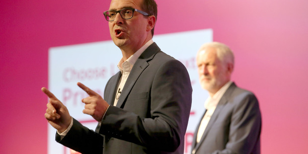 Leadership contenders for Britain's Labour Party, with Owen Smith, left, and Jeremy Corbyn, during a debate. Photo / AP