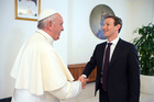 Pope Francis meets Facebook founder and CEO Mark Zuckerberg, at the Santa Marta residence where the Pope lives. Photo / AP