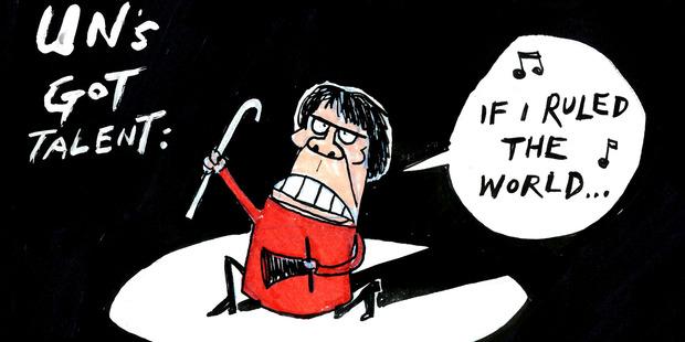 Helen Clark UN secretary-general contest cartoon by Guy Body.