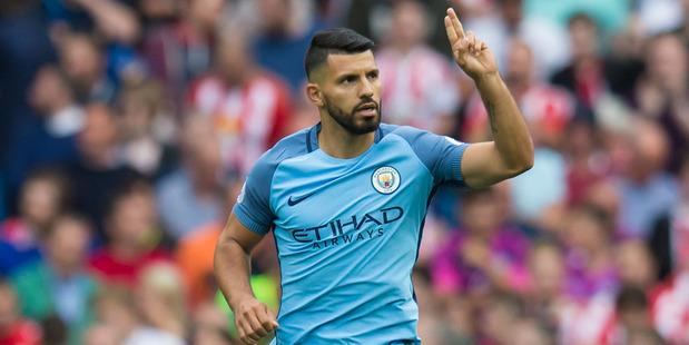 Manchester City striker Sergio Aguero could be suspended for up to three weeks for foul play on All Whites captain Winston Reid. Photo / AP