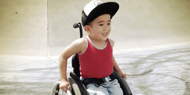 Loading Josh Brass, 7, is in a wheelchair but nothing is stopping him. Photo / Caters News Agency