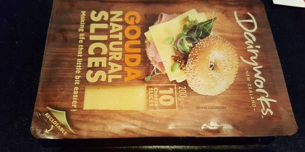 The cheese packet with mouldy cheese inside. Photo / Facebook
