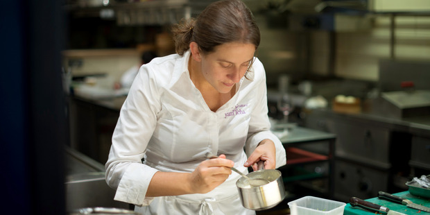 Chef Adeline Grattard plates up a dish in Chef's Table France.