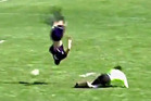 Dylan Prichett-Ettner of the Columbine boys football team in Colorado had nowhere to go but up, over, upside down, and around. Photo / YouTube.