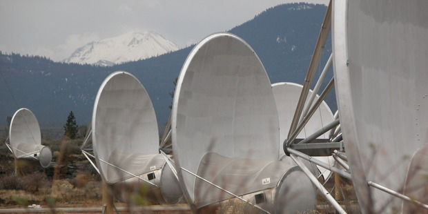 Loading These 20-foot-wide instruments are part of the initial phase of a planned 350-dish Allen Telescope Array designed to scan for radio signal. Photo / Getty