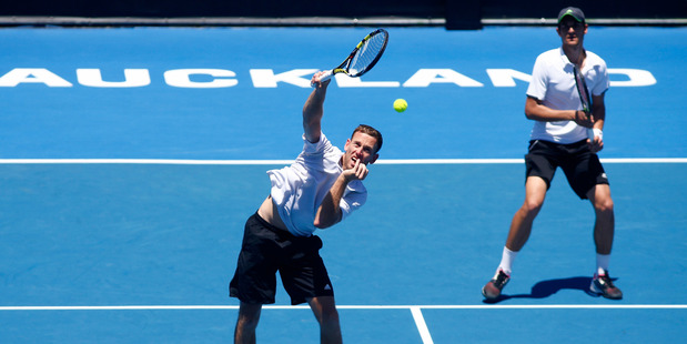 Michael Venus playing at the ASB Classic. Photo / Getty Images