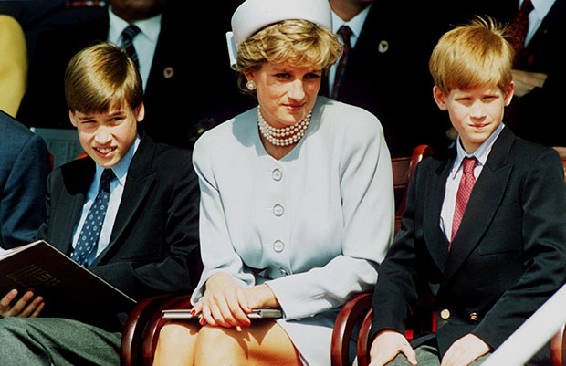 Princess Diana with her sons Harry, left, and William in 1995. Photo / Getty Images