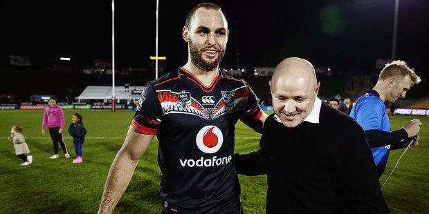 Warriors player Simon Mannering and coach Andrew McFadden. Photo / Getty