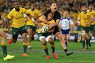 Israel Dagg gets a penalty for a high tackle on Australia's Will Genia. Photo / Getty
